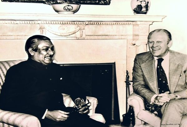 Father of the Nation of Bangladesh, Bangabandhu Sheikh Mujibur Rahman met with US President Gerald R. Ford on October 1, 1974 at the Oval Office of the White House in Washington, DC