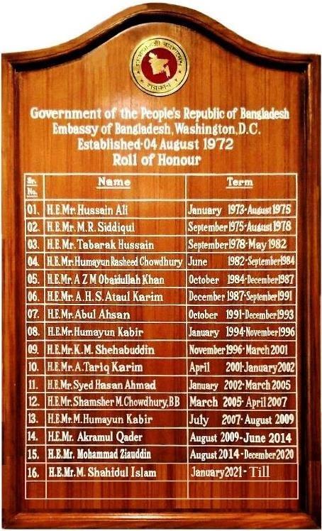 Board of Roll of Honor of Bangladesh Ambassadors to the USA