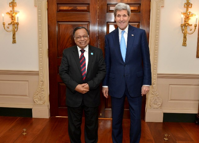Foreign Minister Abul Hassan Mahmood Ali and US Secretary of State John Kerry