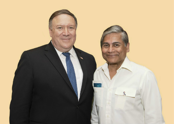 Ambassador Mohammad Ziauddin shaking hands with Secretary of State Mike Pompeo